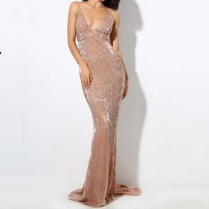 Brand New Champagne Sequin V Collar & Back Dress,S